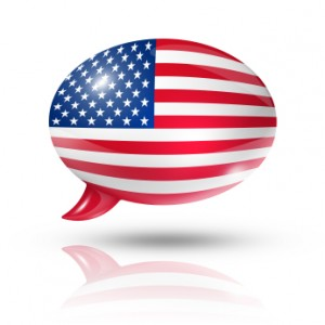 three dimensional USA flag in a speech bubble isolated on white with clipping path