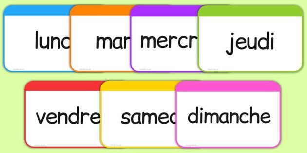 ایام هفته در زبان فرانسه