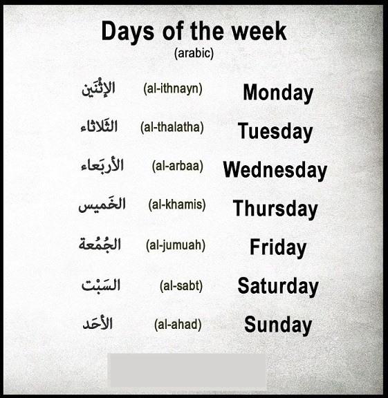 ایام هفته به زبان عربی