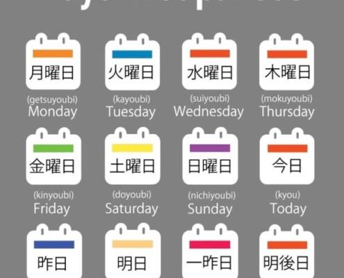 آموزش روزهای هفته در زبان ژاپنی