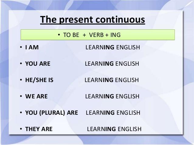 زمان حال استمراری در انگلیسی